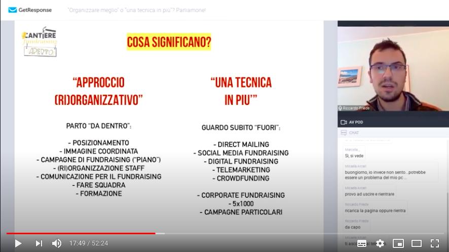 webinar fundriasing approcci sviluppo piccolo ufficio fundraising riccardo friede cantiere fundraising